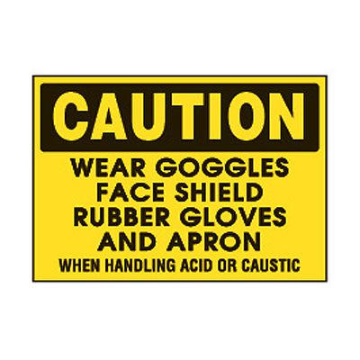 Chemical Safety Labels - Caution Wear Goggles Face Shield