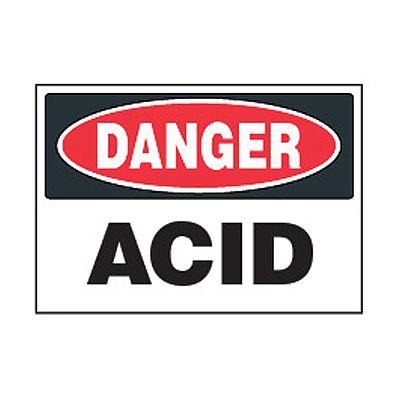 Chemical Safety Labels - Danger Acid