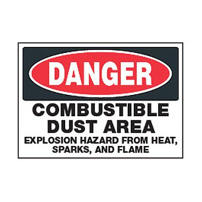 Chemical Safety Labels - Danger Combustible Dust Area
