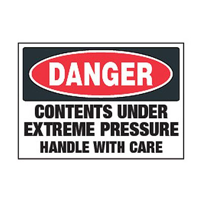 Chemical Labels - Danger Contents Under Extreme Pressure
