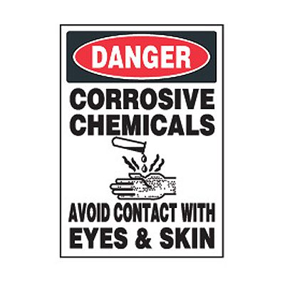 Chemical Safety Labels - Danger Corrosive Chemicals Avoid