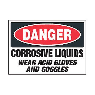Chemical Safety Labels - Danger Corrosive Liquids