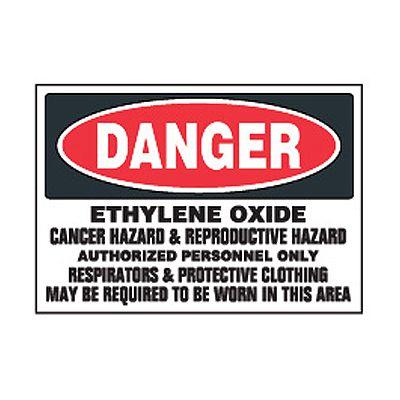 Chemical Safety Labels - Danger Ethylene Oxide Cancer Hazard