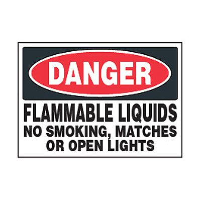 Chemical Safety Labels - Danger Flammable Liquids No Smoking