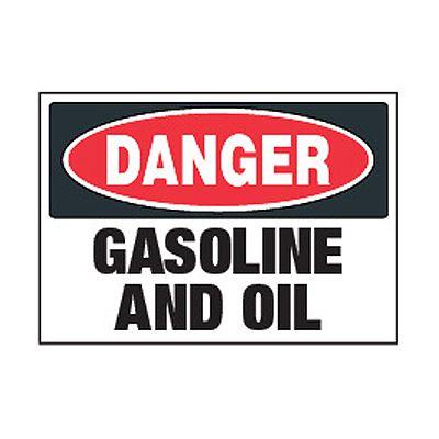 Chemical Safety Labels - Danger Gasoline And Oil