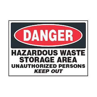 Chemical Safety Labels - Danger Hazardous Waste Storage Area
