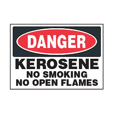 Chemical Safety Labels - Danger Kerosene Fuel No Smoking