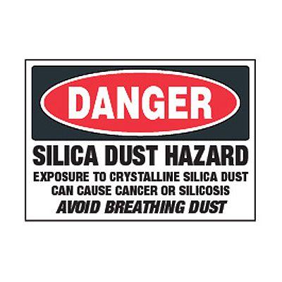 Chemical Safety Labels - Danger Silica Dust Hazard
