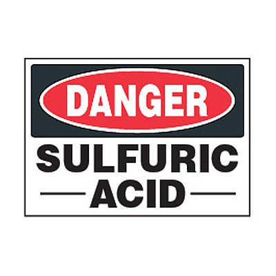 Chemical Safety Labels - Danger Sulfuric Acid