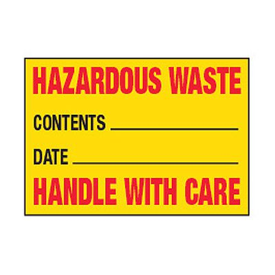 Chemical Safety Labels - Hazardous Waste Handle With Care