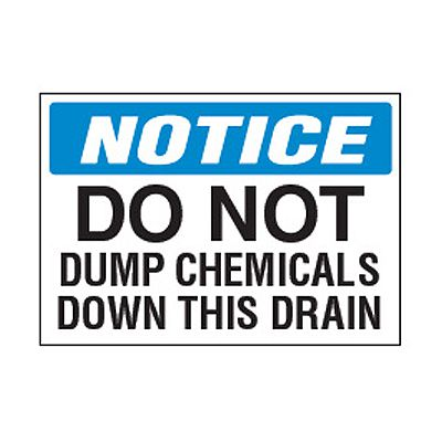 Chemical Safety Labels - Notice Do Not Dump Chemicals
