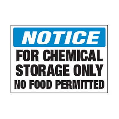 Chemical Safety Labels - Notice For Chemical Storage Only