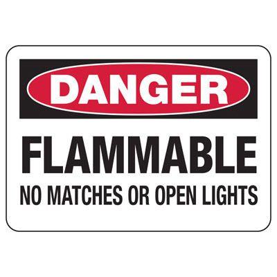 Danger Flammable No Open Lights Sign