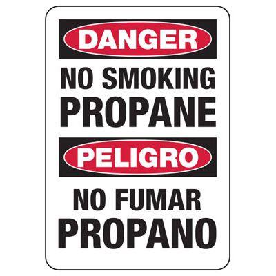 Bilingual Danger No Smoking Propane Sign