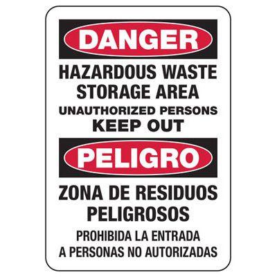 Bilingual Danger Hazardous Waste Storage Area Sign