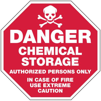 Chemical Warning Signs - Danger Chemical Storage