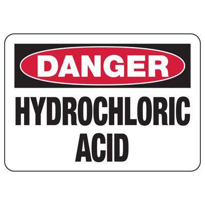 Danger Hydrochloric Acid Safety Sign