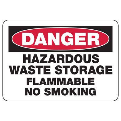 Danger Hazardous Waste Storage Flammable Sign