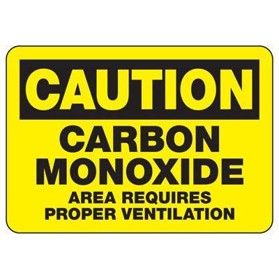 Caution Carbon Monoxide Area Sign
