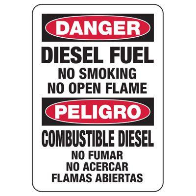 Bilingual Diesel Fuel No Smoking Sign