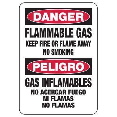 Bilingual Flammable Gas No Smoking Sign