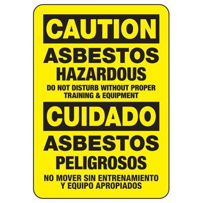 Bilingual Asbestos Hazard Sign