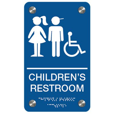 Children's Restroom (Boy/Girl Accessibility Symbols) - Premium ADA Braille Restroom Signs