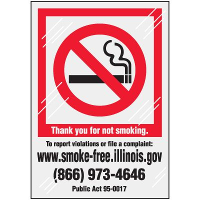 Illinois State-Specific No Smoking Window Decal