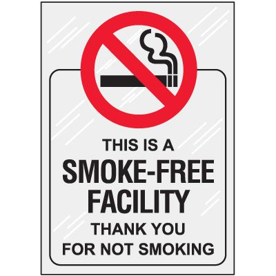 Smoke Free Facility Window Decal