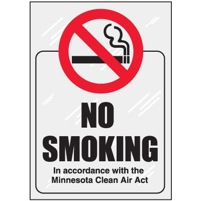 Minnesota No Smoking Window Decal