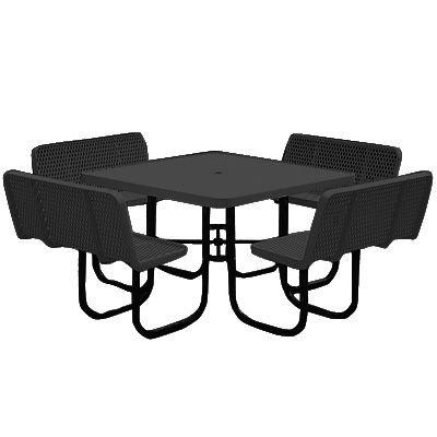 Coated Steel Square Picnic Tables- Full Back Seats - Anova F2114-SBK-TBK-FBK