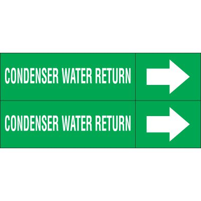Condenser Water Return - Weather-Code™ Self-Adhesive Outdoor Pipe Markers