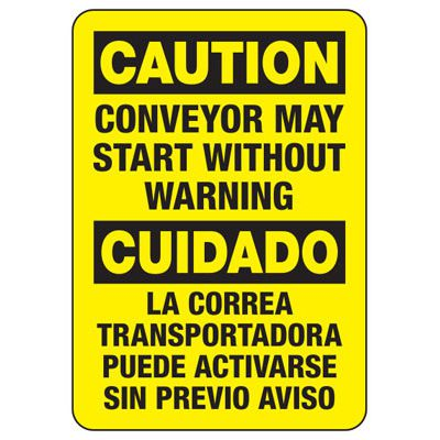 Bilingual Caution Conveyor May Start Signs