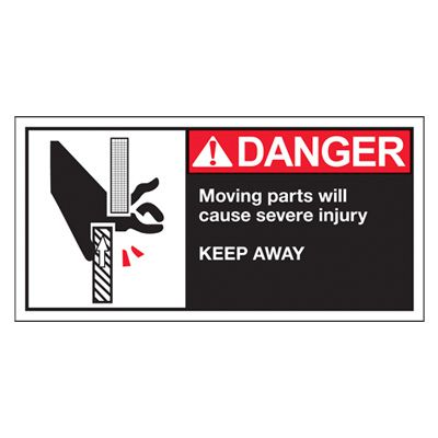 Conveyor Safety Labels - Danger Moving Parts Will Cause Severe Injury