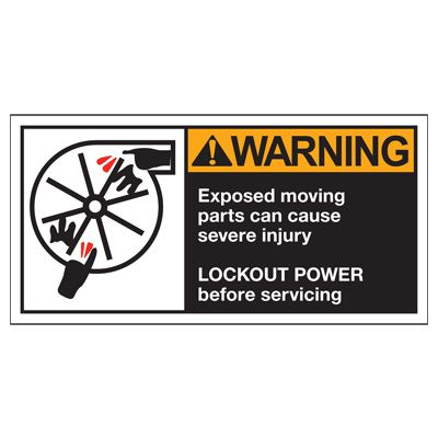 Conveyor Safety Labels - Warning Exposed Moving Parts Can Cause Severe Injury
