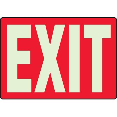 Glow In The Dark Exit Sign (Red)
