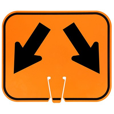 Plastic Traffic Cone Signs- Arrows Lower Left and Right