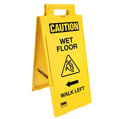 Lockin'arm Floor Stand Signs - Caution Wet Floor Walk Left - Cortina 03-600-35