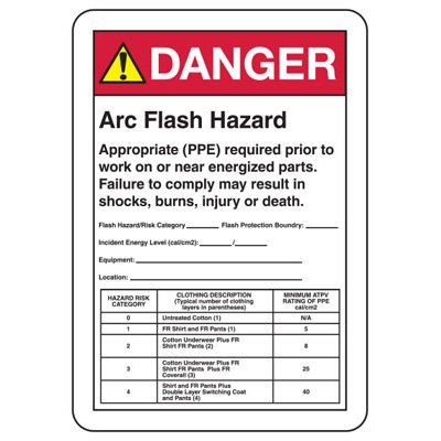 Arc Flash Signs - Danger Arc Flash Hazard Appropriate (PPE) Required
