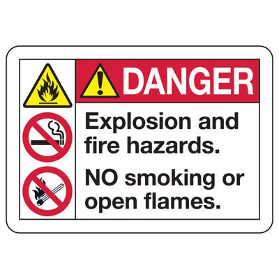 ANSI Safety Signs - Danger Explosion And Fire