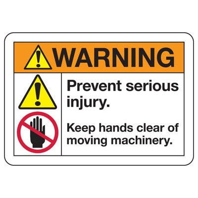 ANSI Safety Signs - Warning Keep Hands Clear