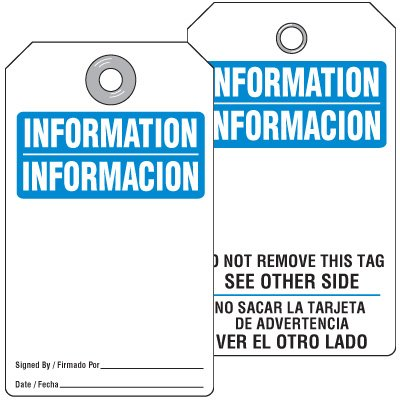 Accident Prevention Information Tag - Bilingual