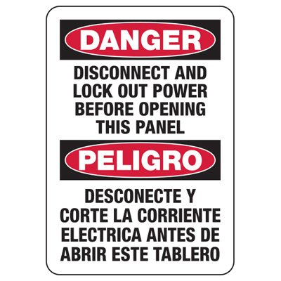 Bilingual Baler Safety Signs - Danger Disconnect And Lock Out Power