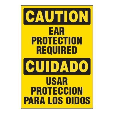 Adhesive Signs - Caution Ear Protection Required (Bilingual)
