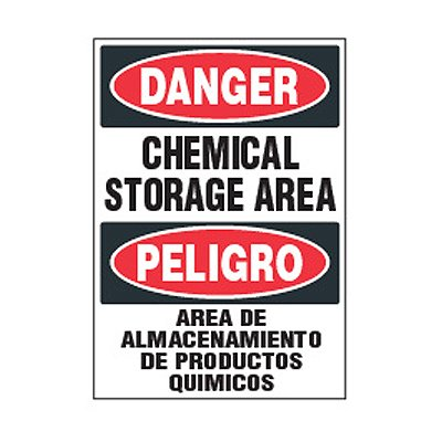 Bilingual Chemical Safety Labels - Danger Chemical Storage