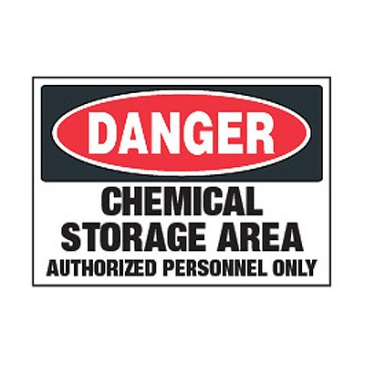 Chemical Safety Labels - Danger Chemical Storage Area