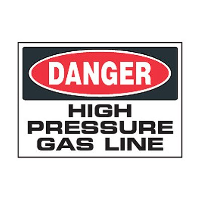 Chemical Safety Labels - Danger High Pressure Gas Line