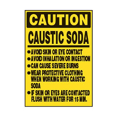 Chemical Safety Labels - Caution Caustic Soda Avoid Contact