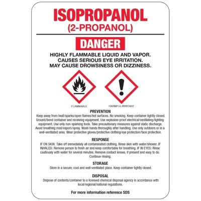 Chemical GHS Signs - Isopropanol (2-Propanol)