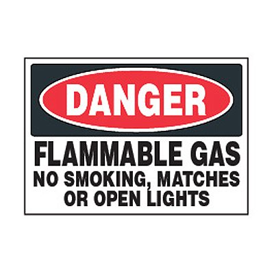 Chemical Safety Labels - Danger Flammable Gas No Smoking
